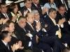 Durante algunos anuncios hechos por el presidente, Mauricio Funes, algunos invitados aplaudieron. Foto La Prensa.