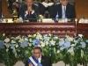 Mauricio Funes, este años se colocó la Banda Presidencial para rendir balance de segundo año de labores. Foto La Prensa.